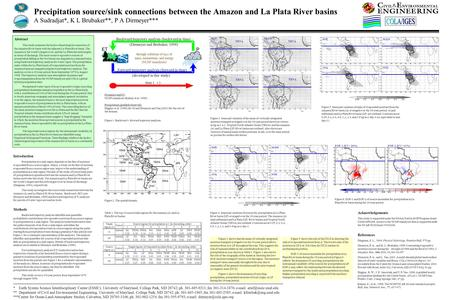 Precipitation source/sink connections between the Amazon and La Plata River basins A Sudradjat*, K L Brubaker**, P A Dirmeyer*** Abstract This study examines.