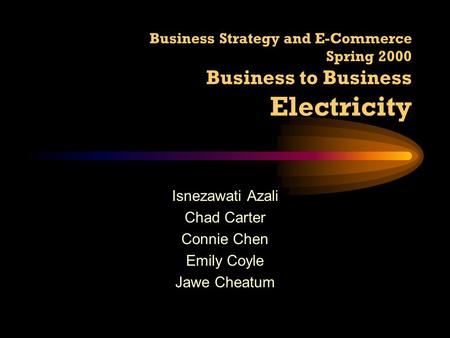 Business Strategy and E-Commerce Spring 2000 Business to Business Electricity Isnezawati Azali Chad Carter Connie Chen Emily Coyle Jawe Cheatum.