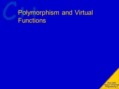 Polymorphism and Virtual Functions. Topics Polymorphism Virtual Functions Pure Virtual Functions Abstract Base Classes Virtual Destructors V-Tables Run.
