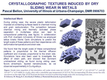 CRYSTALLOGRAPHIC TEXTURES INDUCED BY DRY SLIDING WEAR IN METALS Pascal Bellon, University of Illinois at Urbana-Champaign, DMR 0906703 Intellectual Merit.