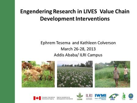 Engendering Research in LIVES Value Chain Development Interventions Ephrem Tesema and Kathleen Colverson March 26-28, 2013 Addis Ababa/ ILRI Campus.