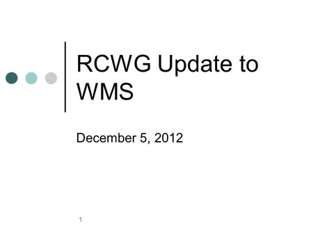 RCWG Update to WMS December 5, 2012 1. General Update Agenda Items for Today: Verifiable Cost Manual clarifications (vote) White Paper on Long Term Fuel.