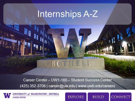 Career Center – UW1-160 – Student Success Center (425) 352-3706 | |  Internships A-Z.