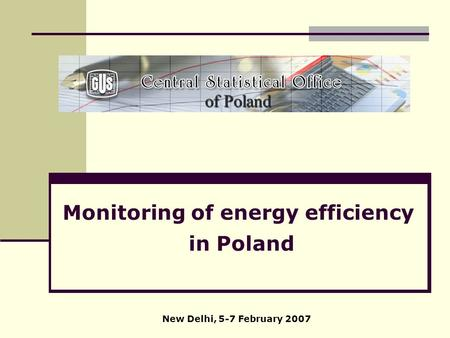 New Delhi, 5-7 February 2007 Monitoring of energy efficiency in Poland of Poland.
