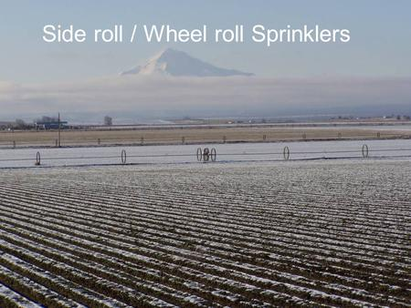 Side roll / Wheel roll Sprinklers. Layout Consideration  Obstacles  Fences  Power lines  Out buildings  Ditches  Roads  Wind.