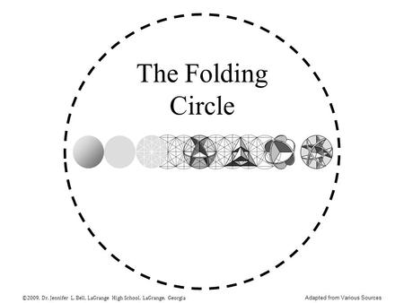 The Folding Circle ©2009, Dr. Jennifer L. Bell, LaGrange High School, LaGrange, Georgia Adapted from Various Sources.