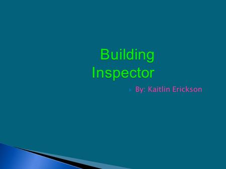 Building Inspector  By: Kaitlin Erickson Building Inspectors examine buildings, highways, streets, sewers, water systems, dams, bridges, and other structures.