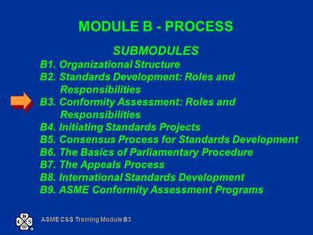 ASME C&S Training Module B3 MODULE B - PROCESS SUBMODULES B1. Organizational Structure B2. Standards Development: Roles and Responsibilities B3. Conformity.