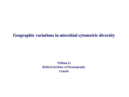Geographic variations in microbial cytometric diversity