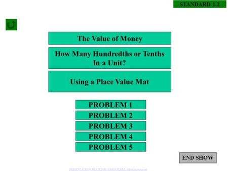 STANDARD 1.2 PROBLEM 1 PROBLEM 3 PROBLEM 2 PROBLEM 4 The Value of Money How Many Hundredths or Tenths In a Unit? Using a Place Value Mat PROBLEM 5 END.