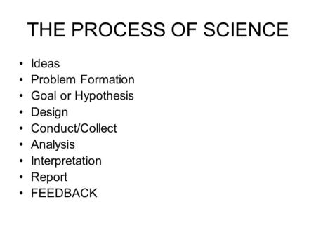 THE PROCESS OF SCIENCE Ideas Problem Formation Goal or Hypothesis Design Conduct/Collect Analysis Interpretation Report FEEDBACK.