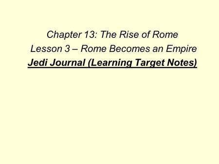 Jedi Journal (Learning Target Notes)