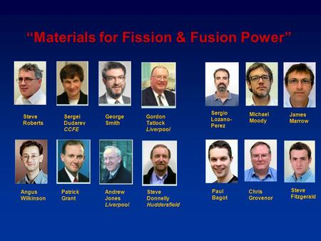 """Materials for Fission & Fusion Power"" Steve Roberts Sergei Dudarev CCFE George Smith Gordon Tatlock Liverpool Angus Wilkinson Patrick Grant Andrew Jones."
