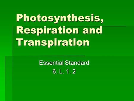 Photosynthesis, Respiration and Transpiration Essential Standard 6. L. 1. 2.