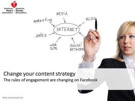 Change your content strategy The rules of engagement are changing on Facebook Photo: writerlisamason.com.