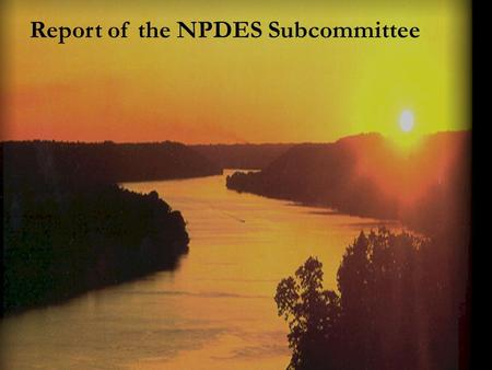 Report of the NPDES Subcommittee. Conference Call Meetings July 8 and August 19 Mercury Discharges – Utility Request to Address Permit Requirements for.