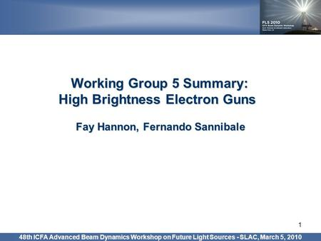 1 Working Group 5 Summary: High Brightness Electron Guns High Brightness Electron Guns Fay Hannon, Fernando Sannibale 48th ICFA Advanced Beam Dynamics.