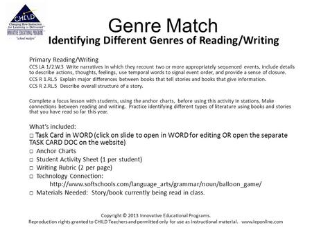 Genre Match Identifying Different Genres of Reading/Writing Primary Reading/Writing CCS LA 1/2.W.3 Write narratives in which they recount two or more appropriately.
