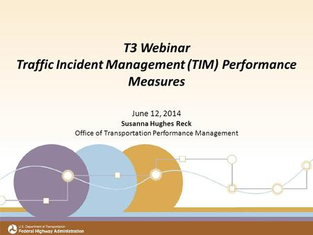 Title Subtitle Meeting Date Office of Transportation Performance Management T3 Webinar Traffic Incident Management (TIM) Performance Measures June 12,
