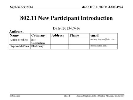 Doc.: IEEE 802.11-13/0049r3 Submission September 2013 Adrian Stephens, Intel : Stephen McCann, BlackberrySlide 1 802.11 New Participant Introduction Date: