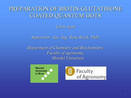 1 PREPARATION OF BIOTIN-GLUTATHIONE COATED QUANTUM DOTS Libor Janů Supervisor: doc. Ing. René Kizek, PhD. Department of Chemistry and Biochemistry, Faculty.