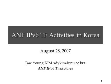 1 ANF IPv6 TF Activities in Korea August 28, 2007 Dae Young KIM ANF IPv6 Task Force.