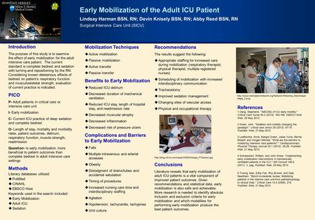 Early Mobilization of the Adult ICU Patient Lindsay Harman BSN, RN; Devin Knisely BSN, RN; Abby Reed BSN, RN Surgical Intensive Care Unit (SICU) Introduction.