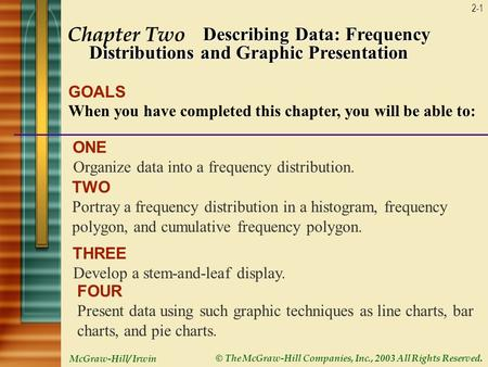 McGraw-Hill/ Irwin © The McGraw-Hill Companies, Inc., 2003 All Rights Reserved. 2-1 Chapter Two Describing Data: Frequency Distributions and Graphic Presentation.