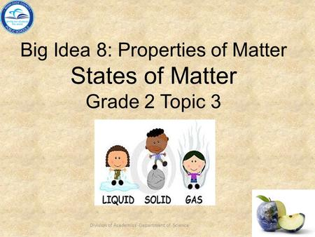 Big Idea 8: Properties of Matter States of Matter Grade 2 Topic 3