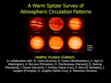 A Warm Spitzer Survey of Atmospheric Circulation Patterns Image credit G. Orton Heather Knutson (Caltech) In collaboration with: N. Lewis (Arizona), N.