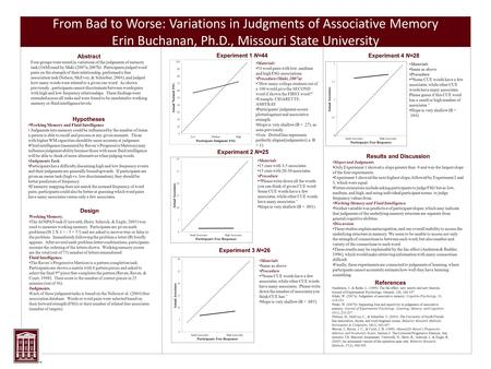 From Bad to Worse: Variations in Judgments of Associative Memory Erin Buchanan, Ph.D., Missouri State University Abstract Four groups were tested in variations.