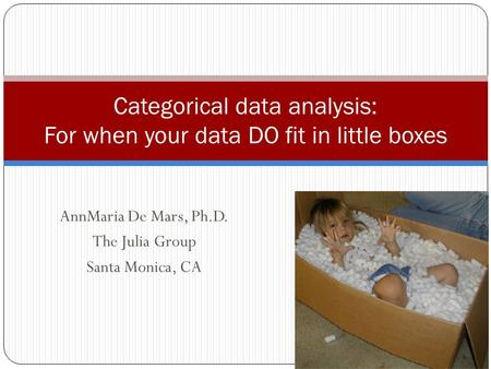 AnnMaria De Mars, Ph.D. The Julia Group Santa Monica, CA Categorical data analysis: For when your data DO fit in little boxes.