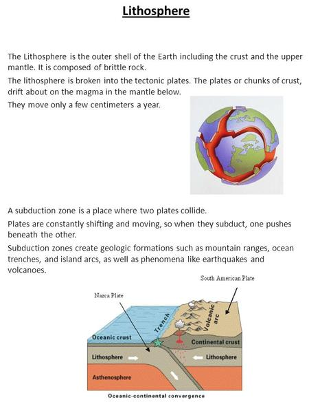 Lithosphere The Lithosphere is the outer shell of the Earth including the crust and the upper mantle. It is composed of brittle rock. The lithosphere is.