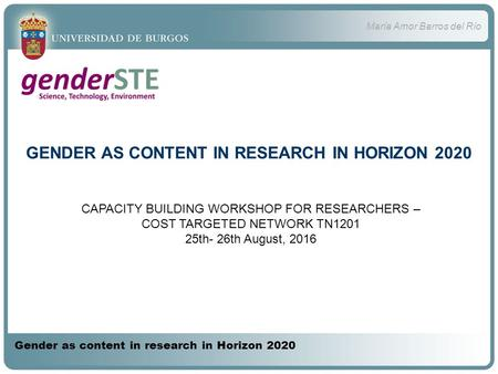 María Amor Barros del Río Gender as content in research in Horizon 2020 GENDER AS CONTENT IN RESEARCH IN HORIZON 2020 CAPACITY BUILDING WORKSHOP FOR RESEARCHERS.