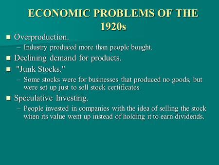 economic problems