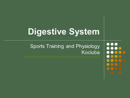 Digestive System Sports Training and Physiology Kociuba