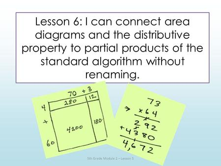 Lesson 6: I can connect area diagrams and the distributive property to partial products of the standard algorithm without renaming. 5th Grade Module 2.