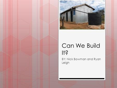 Can We Build It? BY: Nick Bowman and Ryan Leigh. Our Mission We need to raise 2500 dollars to build a school in Eluaai, Kenya, to help educate the kids.
