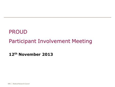 PROUD Participant Involvement Meeting 12 th November 2013.