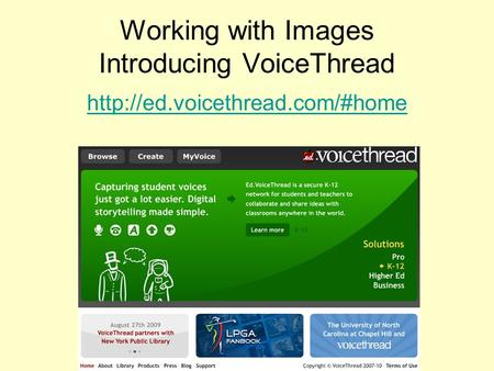 Working with Images Introducing VoiceThread