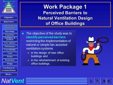 Work Package 1 Perceived Barriers to Natural Ventilation Design of Office Buildings The objective of the study was to identify perceived barriers restricting.