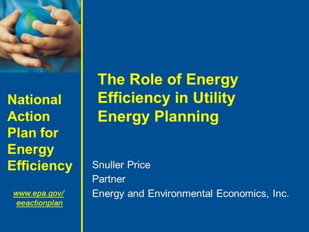 National Action Plan for Energy Efficiency www.epa.gov/ eeactionplan The Role of Energy Efficiency in Utility Energy Planning Snuller Price Partner Energy.