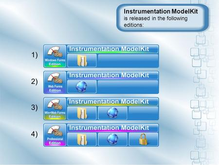 Instrumentation ModelKit is released in the following editions: 1) 2) 3) 4)