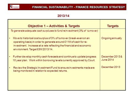 FINANCIAL SUSTAINABILITY - FINANCE RESOURCES STRATEGY Objective 1 – Activities & TargetsTargets To generate adequate cash surpluses to fund reinvestment.