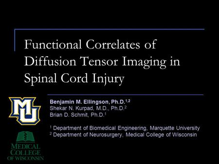 Functional Correlates of Diffusion Tensor Imaging in Spinal Cord Injury Benjamin M. Ellingson, Ph.D. 1,2 Shekar N. Kurpad, M.D., Ph.D. 2 Brian D. Schmit,