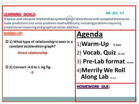 Agenda 1) Warm-Up 5 min 2) Vocab. Quiz 10 min 3) Pre-Lab format 15 min 4) Merrily We Roll Along Lab 50 min 09 -21- 11 direct relationship -5.