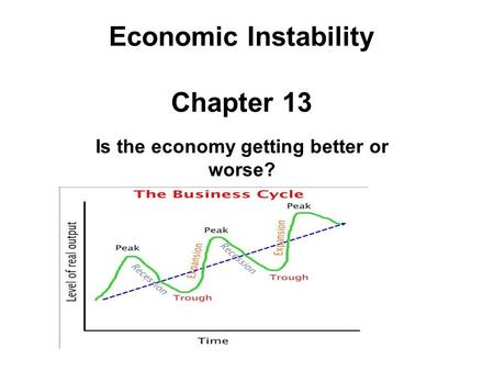 Economic Instability Chapter 13 Is the economy getting better or worse?