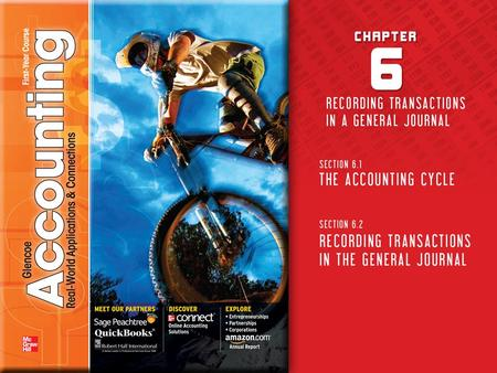 Copyright © by The McGraw-Hill Companies, Inc. All rights reserved.Glencoe Accounting The Steps of the Accounting Cycle The Accounting CycleSection 6.1.