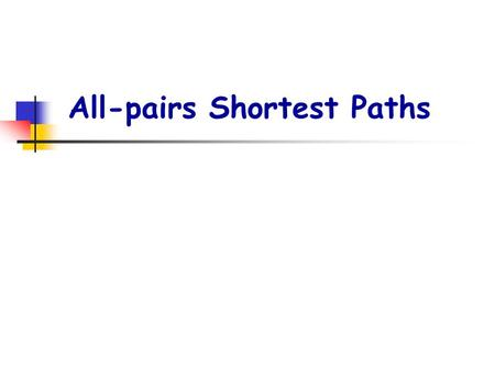 All-pairs Shortest Paths. p2. The structure of a shortest path: All subpaths of a shortest path are shortest paths. p : a shortest path from vertex i.