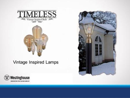 Vintage Inspired Lamps. Create lighting with timeless appeal… Go back in time using an old style filament design that creates a nostalgic feel. Perfect.